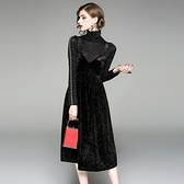 洋裝(兩件套)-吊帶高領珍珠長袖絲絨女連身裙73of109[巴黎精品]