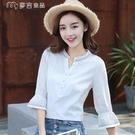 七分袖上衣高含棉小清新襯衫女21春季新款七分袖寬鬆上衣v領刺繡襯衫 快速出貨