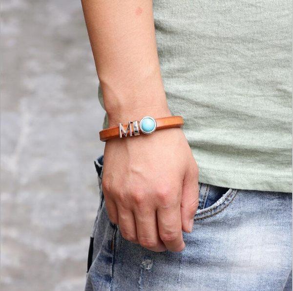 真皮 手環 飾品 珠珠 牛皮 虎眼石