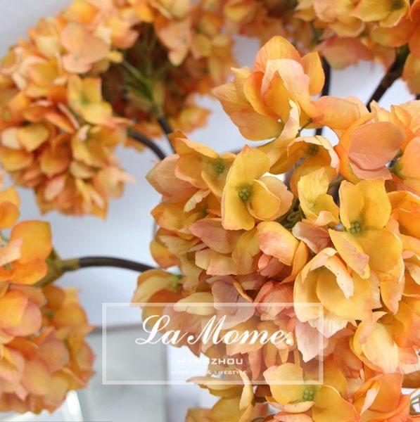 [協貿國際]仿真花/歐式複古仿真繡球花/橘色絹花/樣板房擺放花卉