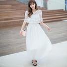 洋裝-露肩鏤空蕾絲雪紡短袖女連身裙73nj49【巴黎精品】