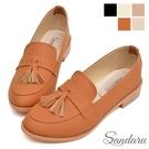 紳士鞋 復古流蘇尖頭低跟鞋-棕