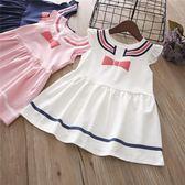 新款女童寶寶無袖休閒童裙海軍風蝴蝶結連身裙