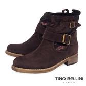Tino Bellini義大利進口麂皮mix微閃皮料低跟短靴_咖 B69019 歐洲進口