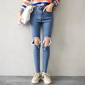 MIUSTAR 大破壞感膝蓋抽鬚丹寧窄管褲(共1色,S-L)【NH3396EP】預購