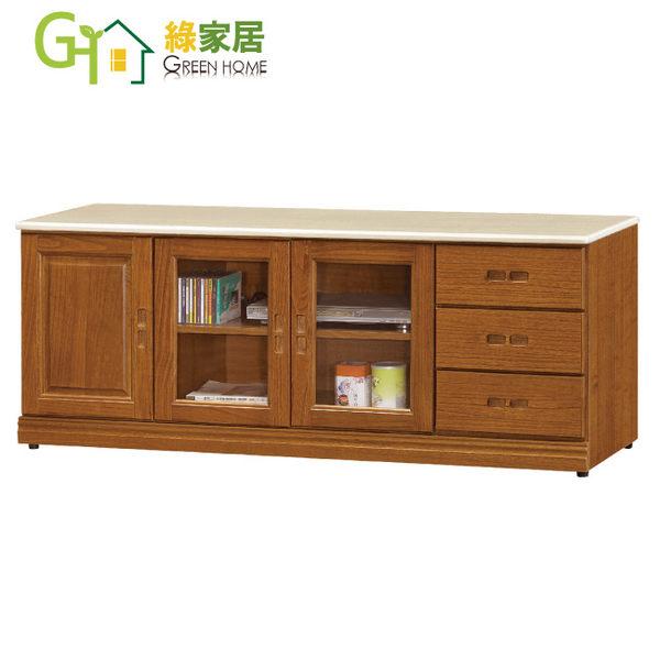 【綠家居】艾羅 實木6尺雲紋石面電視櫃/長櫃