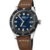 ORIS 豪利時 Divers Sixty-Five 1965 復刻潛水機械錶/手錶-藍x棕/42mm 0173377204055-0752102