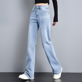 牛仔寬褲女2019新款高腰直筒闊腿毛邊緊身顯瘦顯高拖地百搭長褲 XN7547 『小美日記』