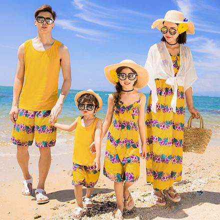 韓版時尚黃花朵風短袖套裝親子裝(大人)