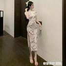 復古梅花少女印花短袖旗袍連身裙名媛優雅開叉長裙子 奇妙商鋪