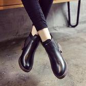 秋冬季學生黑色圓頭中跟馬丁靴英倫風裸靴女鞋厚底粗跟短筒短靴潮 免運直出