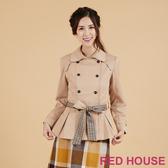 RED HOUSE-蕾赫斯-雙排釦帥氣綁帶大衣(卡其)