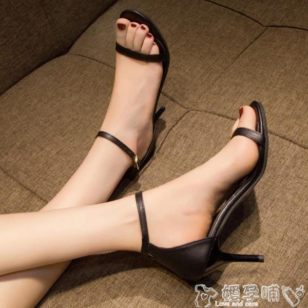 高跟鞋網紅黑色高跟鞋2021女夏季新款百搭性感細跟一字扣帶氣質露趾涼鞋 嬡孕哺