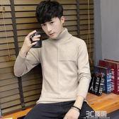 秋季男士毛衣青少年韓版潮流上衣流行男裝學生修身套頭高領針織衫 3c優購