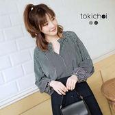 東京著衣-微拋袖開襟條紋上衣(180343)