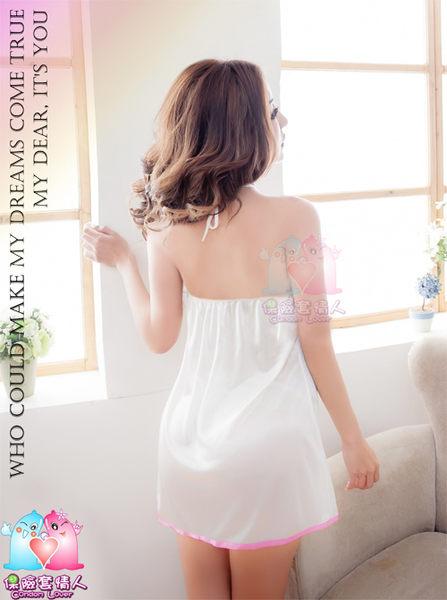 【愛愛雲端】焦點情人!綁脖開襟二件式睡襯衣 (白) R5NA10020093