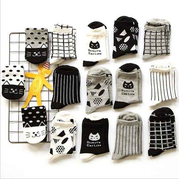 休閒襪 黑白貓咪純棉襪 運動休閒全棉卡通襪