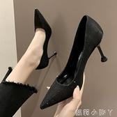 法式少女高跟鞋女軟皮2021春秋季新款尖頭細跟淺口黑色不磨腳單鞋 蘿莉新品