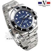 valentino coupeau 范倫鐵諾 夜光時刻 不銹鋼 防水 男錶 黑x藍色面盤 潛水錶水鬼 石英錶 V61589黑框藍