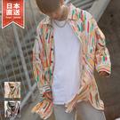 【ZIP FIVE】寬版休閒長袖襯衫 滿版印花