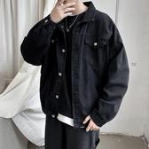 牛仔外套 春秋新款純色男韓版寬鬆學生潮牌 復古百搭bf工裝單寧夾克上衣  降價兩天