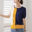 時尚撞色條紋短袖針織上衣針織衫t恤【59-14-8T35004-21】ibella 艾貝拉