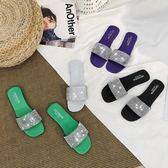 涼拖鞋女夏外穿時尚新款波西米亞百搭一字平底水鉆社會女鞋拖