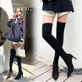 卓豐卡其色長靴 女過膝冬加絨高跟靴子尖頭顯瘦網紅長筒瘦瘦靴