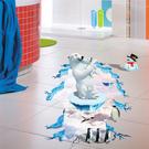 【北極熊牆貼】60x90創意3D立體視覺無痕貼紙 家居客廳玄關浴室地面牆壁貼 防水裝飾地板貼