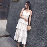 吊帶裙女夏中長款v領收腰洋裝連衣裙顯瘦修身無袖裙子 森雅誠品