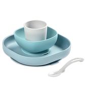 【奇哥】BEABA 寶寶矽膠學習餐具組-淺藍
