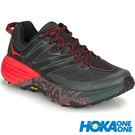 【HOKA】女 越野跑鞋『暗影黑/罌粟紅...