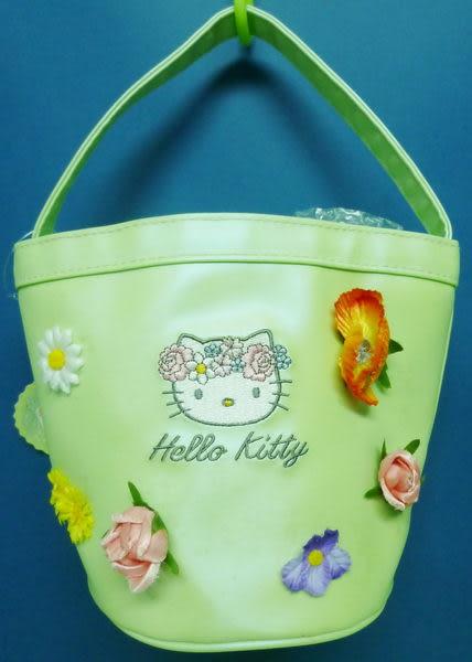 【震撼精品百貨】Hello Kitty 凱蒂貓~手提袋『綠底花圈』