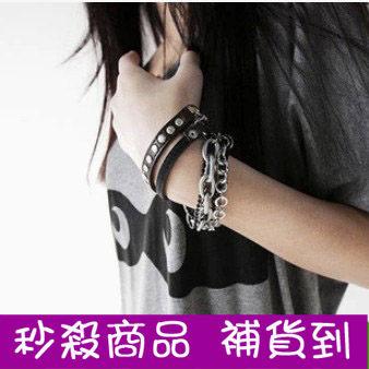 ►帥氣朋克風皮革鏈條多層疊手鏈 手環手飾【B3077】