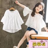 女童短袖t恤夏季韓版寬鬆兒童中大童雪紡上衣【萌萌噠】