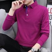 POLO衫長袖t恤男秋季新款韓版純色翻領男士polo衫商務休閒打底衫上衣服 雙12全館免運