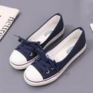 蓓爾2021淺口春夏帆布鞋女韓版休閒懶人鞋學生平底布鞋單鞋小白鞋
