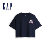 Gap女裝Gap x Snoopy 史努比系列棉質舒適寬鬆短袖T恤567678-海軍藍