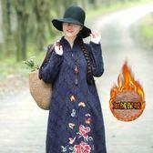 秋冬新款民族風棉麻加絨加厚文藝套頭中長款提花長袖洋裝連身裙洋裝 超值價