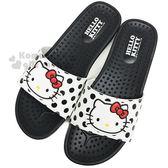 〔小禮堂〕Hello Kitty 皮質厚底拖鞋《36號.黑.大臉.點點》室內拖鞋.休閒拖 4719170-29536