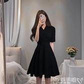 大碼連身裙大碼女裝胖mm2021年夏季新款胖妹妹洋氣遮肉顯瘦黑色氣質連身裙子 新品 嬡孕哺 免運