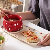 創意波點托盤家用早餐盤子陶瓷碟燕麥碗焗飯碗日式一人食餐具套裝萬聖節