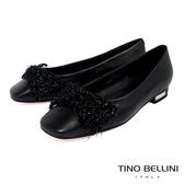 Tino Bellini冬日毛料蝴蝶結全真皮小方頭娃娃鞋_黑 VI8550