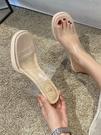 透明拖鞋女外穿高跟鞋仙女風年新款網紅一字水晶粗跟性感涼拖 格蘭小鋪