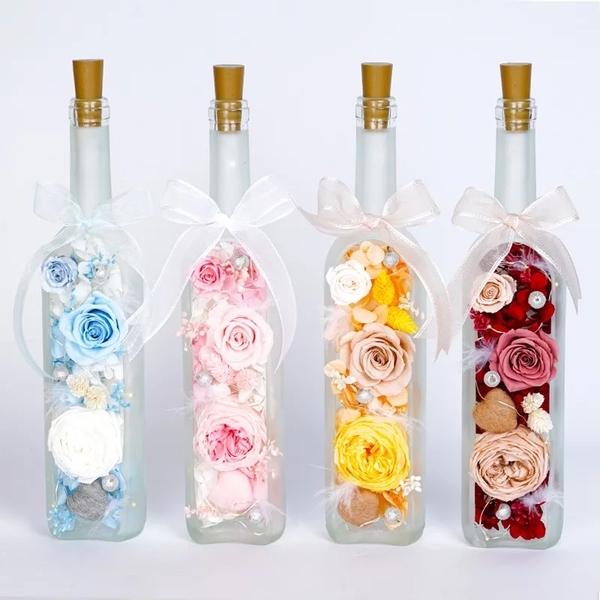新款~帶燈光永生花紅酒瓶造型,全採用全採用Florever 哥倫比亞進口花材