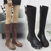 膝上靴冬季女新款韓版英倫平底顯瘦皮靴高筒過膝長筒馬靴騎士靴 鹿角巷YTL