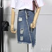 牛仔裙-破洞牛仔半身裙女夏裝大碼胖mm寬鬆學生百搭包臀 618大促銷