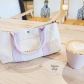 《花花創意会社》外流。粉紫兩用MERCURY簡約野餐風手提包【H6701】