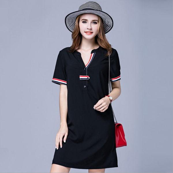 大尺碼 歐美時尚三色織帶V領顯瘦短袖連衣裙洋裝XL~5XL【紐約七號】A2-537