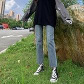 牛仔褲 直筒牛仔褲女2021春款新款高腰小個子八分百搭顯瘦顯高寬鬆九分褲  美物 99免運
